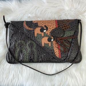 Pinky Bags Large Boho Appliqué Crossbody Bag